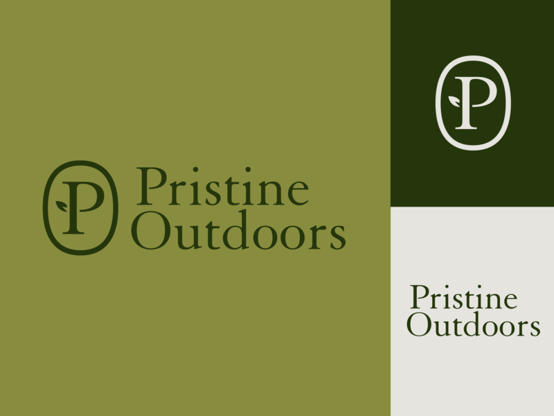 Pristine Outdoors branding logo green lawn lawn care leaf outdoors pristine
