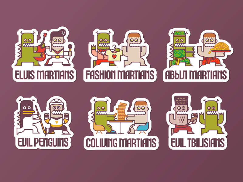 Evil Martians' stickers funny character funny simple cartooning cartoons cartoon illustration line art dynamic logo branding design brand identity brand martians mars minimal vector flat branding stickers illustration logo