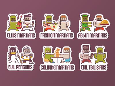 Evil Martians' stickers funny character funny simple cartooning cartoons cartoon illustration line art dynamic logo branding design brand identity brand martians mars minimal vector flat branding stickers illustration logo