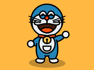 Kawaii Doraemon procreate blue kawaii yellow