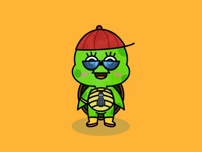 MC Turtle character illustration procreate app kawaii yellow procreate