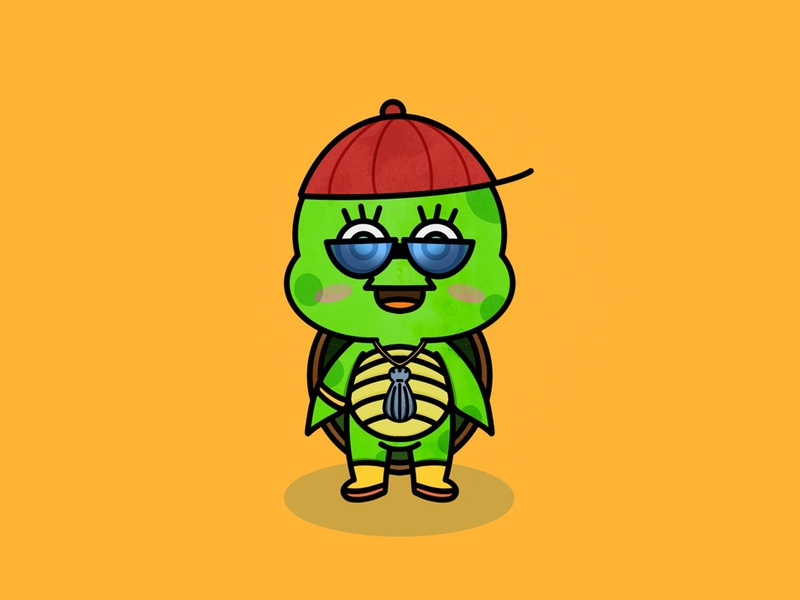 MC Turtle character illustration procreate app kawaii yellow procreate