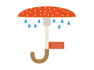 Umbrella Muscaria design logo umbrella amanita muscaria vectorial illustrator drawingalongmarch