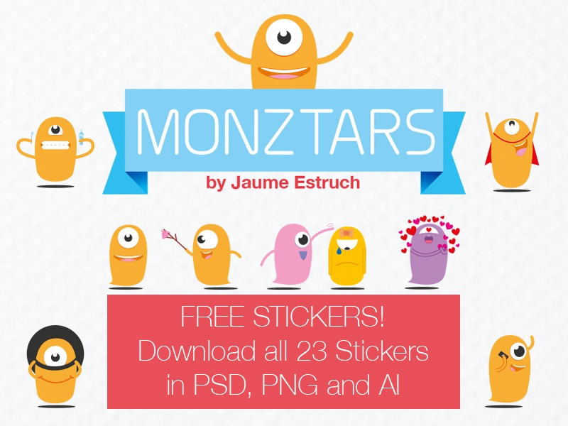 23 Monztars Stickers free PSD, PNG and AI stickers freebie vector psd monztars