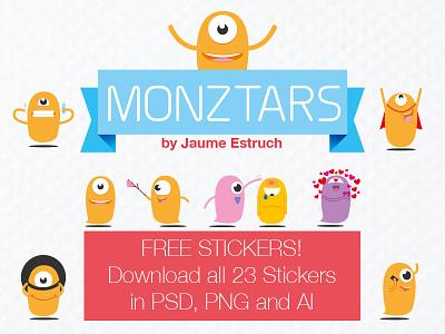 23 Monztars Stickers free PSD, PNG and AI stickers freebie vector psd monztars