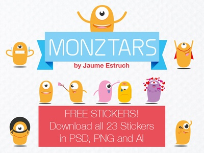 23 Monztars Stickers free PSD, PNG and AI