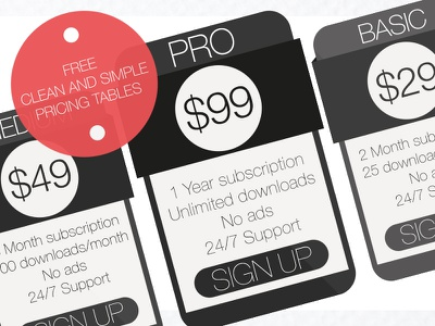Free Clean and Simple Pricing Tables (PSD) design freebie tables pricing psd free black resources
