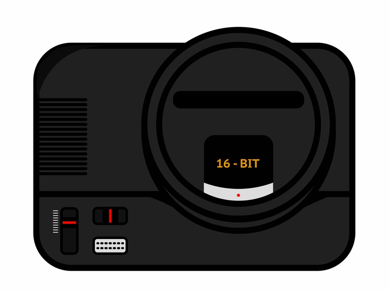 Megadrive ui vector illustration megadrive black vectorial videogame retro