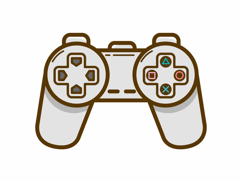 PS1 Controller playstation videogame branding ui logo vectorial vector illustration