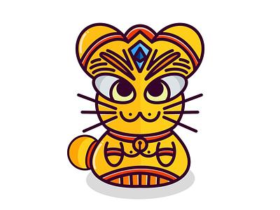 Magic Cat flat illustration gold cat procreate