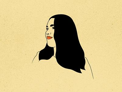 Sana lips black ink line illustration yellow procreate