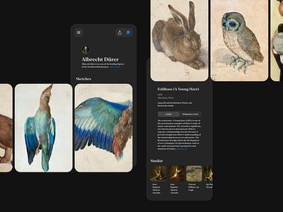 Feldhase 🐇 dark theme dark app dark mode web icon branding illustration mobile article page gallery image typography art card product design design interface ux app ui