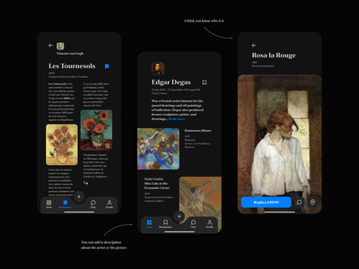 Les Tournesols 🌻 dark mode information design buy bookmark books artist gallery tab bar concept design product design mobile art paintings image illustration design interface ux app ui