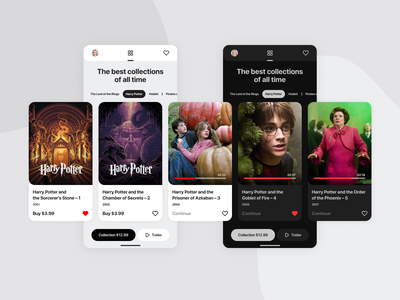 Movie collections 🎬 buyer like harry potter dark theme dark mode dark app netflix illustration cinema mobile ios movie design interface ux app ui