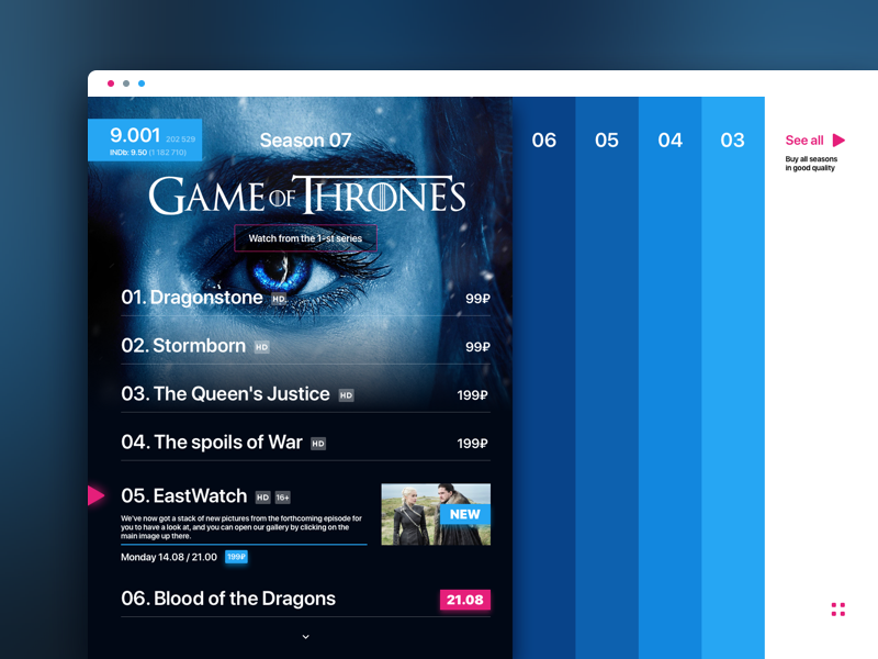 TV series Landing Page 💙 by Letina on Dribbble