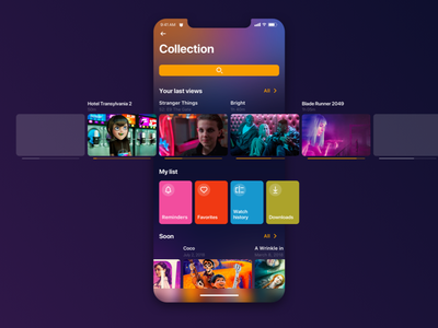 Collection 🔥 cinema ux ui icons ios netflix search serial movie app screen movie collection