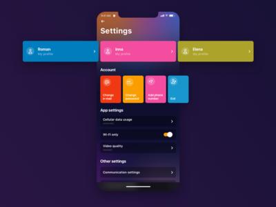 Settings ⚙️ app settings password icons movie change e-mail profile mobile app daily ui settings