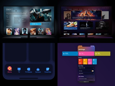 Top 4 Shots -Dribbble Review 2018 🐶 settings movie card movie app aniamtion app ui  ux design uidesign 2018 2018 trends