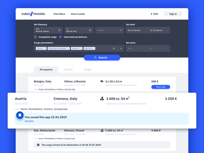 Search shipments page 🚙 web cargo.trading trading cargo search interface design app ux ui