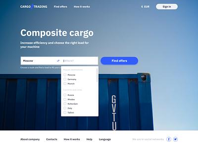 Main page Cargo.Trading 🚙 web main trading cargo interface design ux app ui