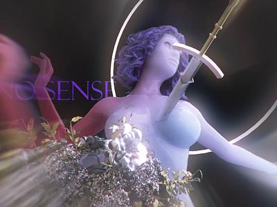 nosense motion flowers 3d animation motiongraphics 3d art female sword nft art
