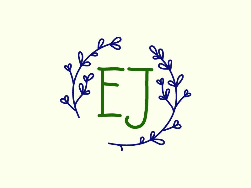 E.J. identity ej monogram ux ui icon branding logo design vector art