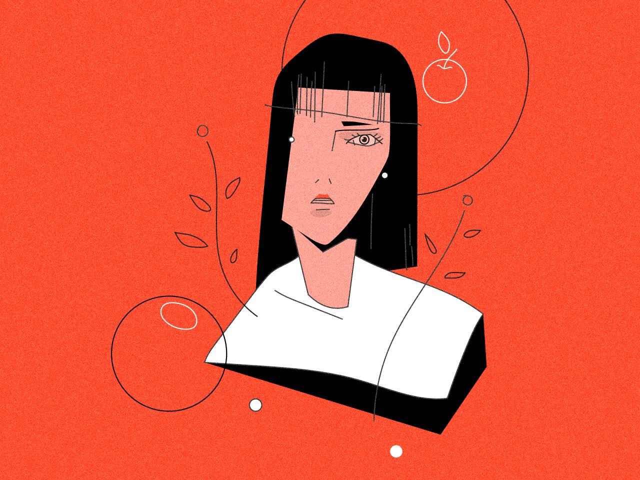 Eva apple face minimalism minimal character design vector illustration art