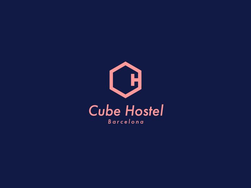 Cube Hostel logo brand design identity branding hostel cube typography logo design vector illustration