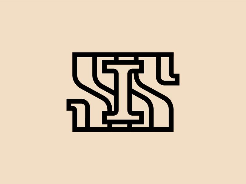 IS - monogram lettering logotype monogram logo branding typography icon design vector art