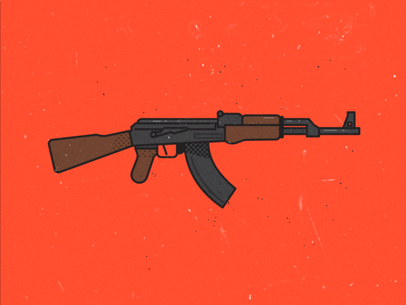 Ak47 toy ui death kill gun design weapon ak47 vector illustration art