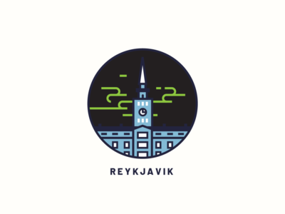 Reykjavik city aurora reykjavik flat ux branding ui web icon design vector illustration art