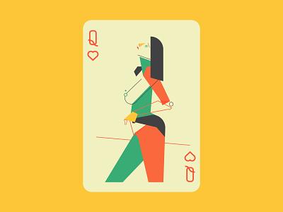 Queen icon branding character card logo design vector queen of hearts queen illustration art