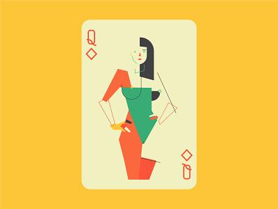 Queen Tiles branding design mnimalist concept cards tiles queen card vector illustration art