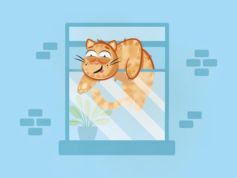 Cat Escape window cute newcastle vector illustration kitty kitten character cat