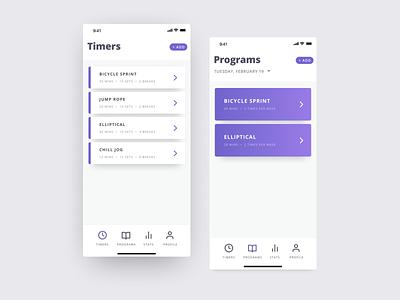 Hiit Timer ios fitness timer hiit purple app ui