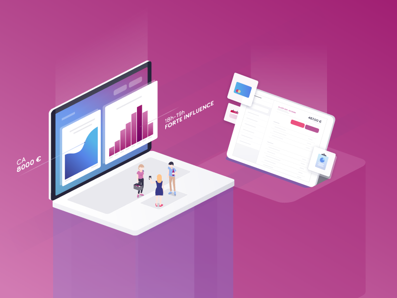 Stat Wino @ customer ipad devices isometric illustration