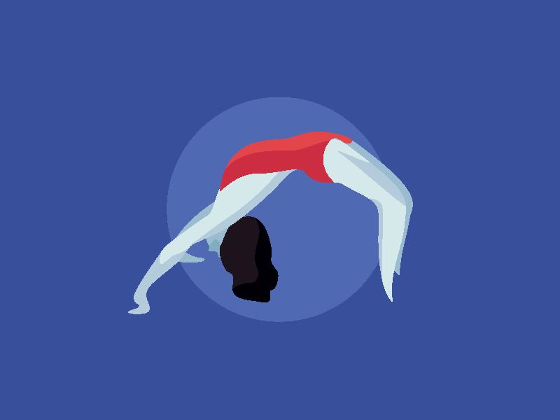 Yoga Posture bridge posture red vector dance yoga girl people illustration