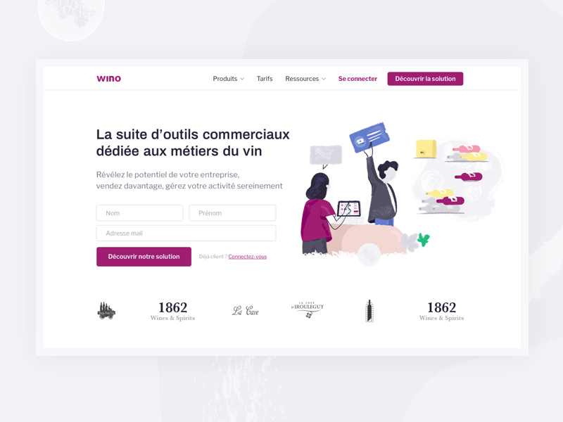 Wino | New website call to action business tool landing page form illustration register cash wine wino website