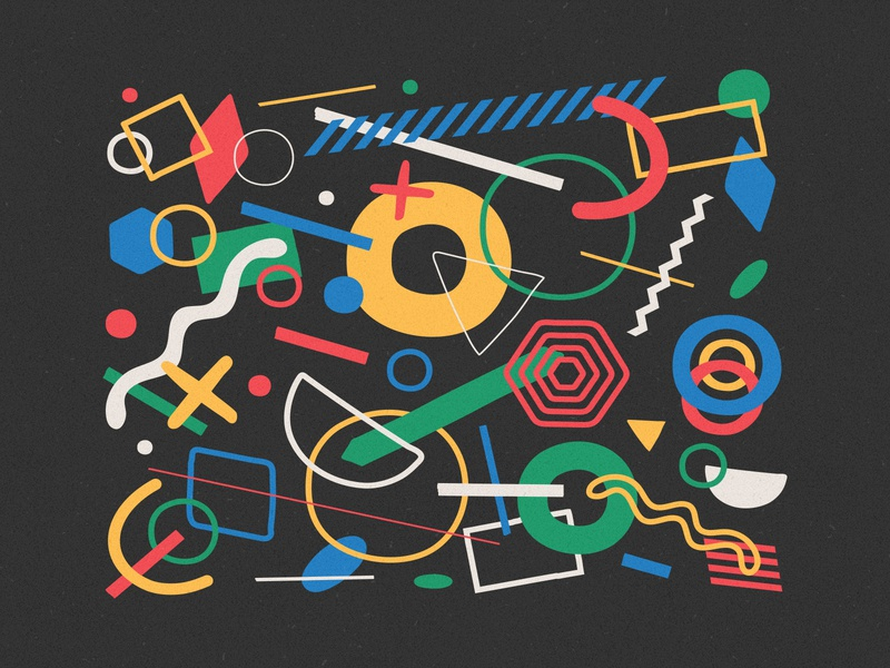abstrct. #66 kandinsky white green blue yellow red vector shapes illustration composition black abstract design