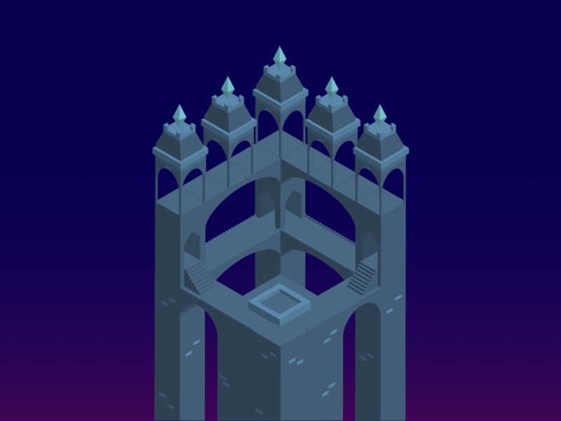 A Journey of a Professional Gamer illustration isometric castle
