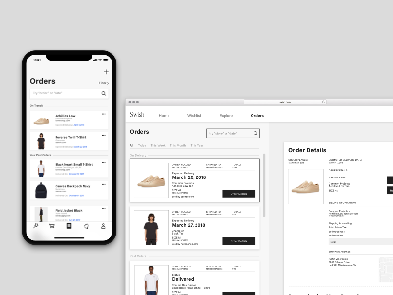 Swish orders shopping e-commerce layout grid browser browser extension mobile case study user experience ui user interface