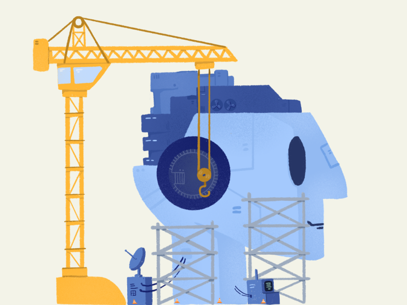 Rebuilding AI artificial intelligence crane bot construction robot ai