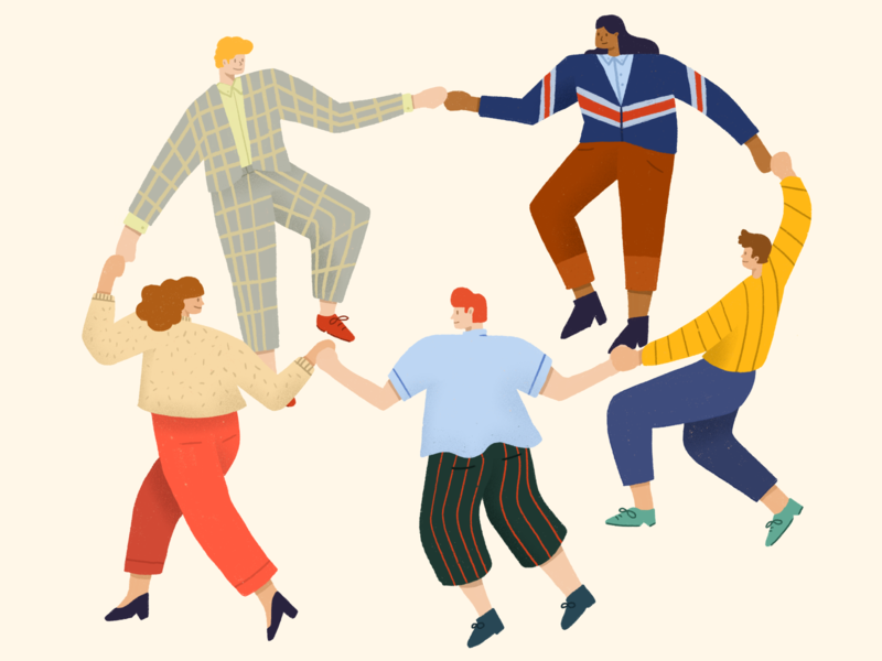 Empathy & Diversity drawing draw holding hands people fashion procreate illustration character dancing dance