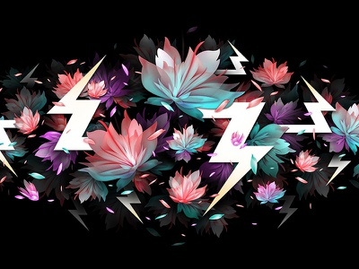 Visual Explosion design illustration bombs flowers