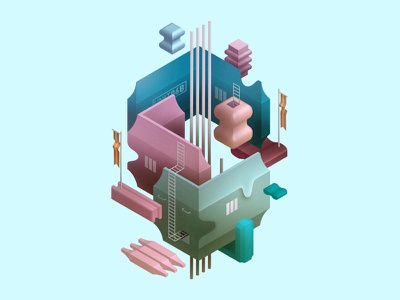 Tiny Worlds - Isometric Illustrations illustration isometric