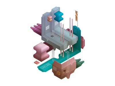 Tiny Worlds - Isometric Illustrations illustration isometric