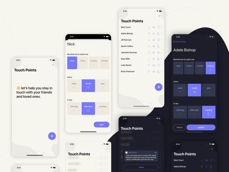 Keep Touch app ux swift mobile ui design ui