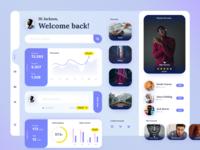 Social Dashboard UI influencer stats design ux flatdesign minimal interfaces profile social network interface social typography interface design ui