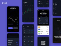 CryptX - Trading App minimal ecommerce banking uxdesign uidesign crypto wallet app design bankingapp cryptocurrency crypto interface design design ux ui