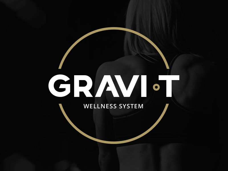 Gravi-T Branding gold black gravity space health wellness gym sport workout luxurious branding logo